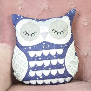 Sleepy Starry Nights Owl Cushion - soft furnishings & accessories