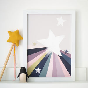 Rainbow Star Modern Children's Nursery Print - children's room