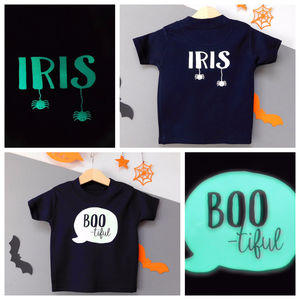 Personalise Glow Boo Tiful Baby/Child Halloween Tshirt - fancy dress for babies & children