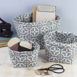 Ines Fabric Set Of Three Storage Boxes - storage