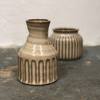 Striped Tall Stoneware Vase