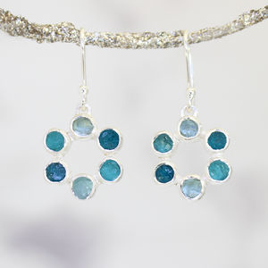 Aquamarine And Apatite Circle Of Stones Silver Earrings