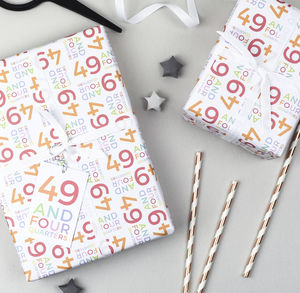 50th Birthday '49 And Four Quarters' Wrapping Paper Set - wrapping paper