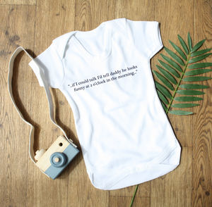 Personalised Baby Thoughts Cotton Babygrow - new baby gifts