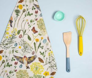 Goldfinch And Buttercup Floral And Bird Tea Towel