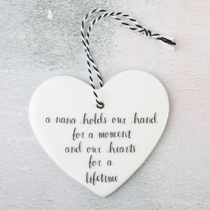 'A Nana Holds Our Hand…' Hanging Heart Decoration - tree decorations