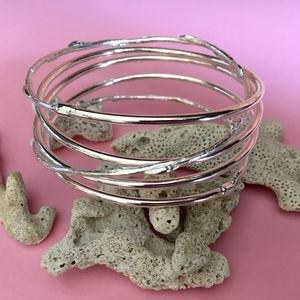 Spiral Silver And Cast Willow Bangle - bracelets & bangles