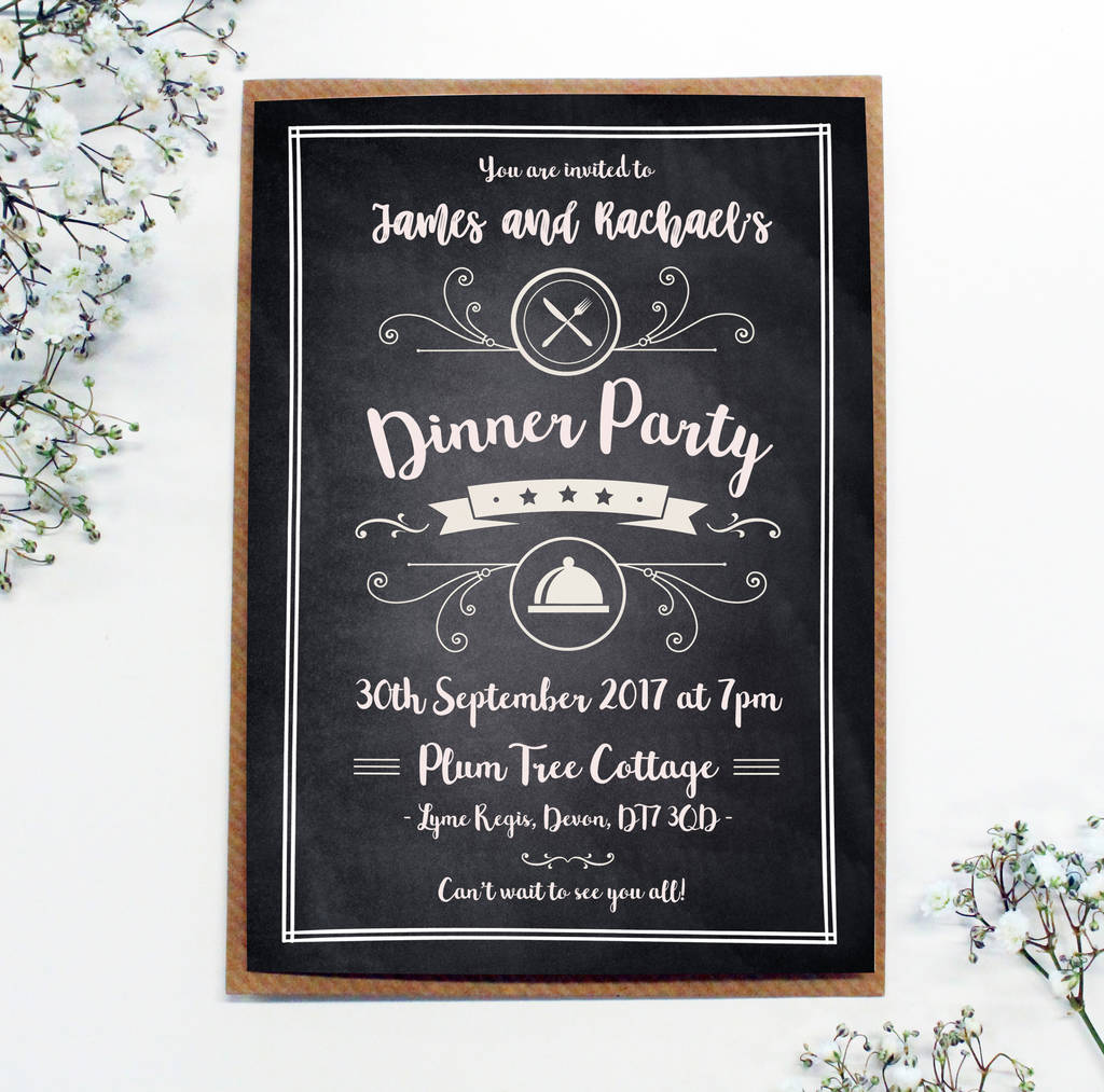 personalised chalkboard \'dinner party\' invitations by precious ...