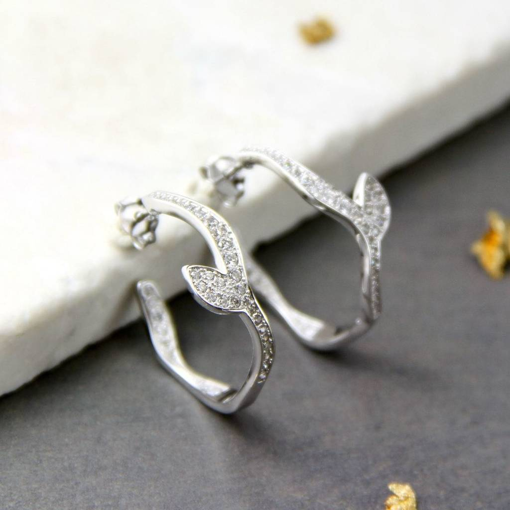 f87bfb544 sterling silver crystal encrusted leaf hoop earrings by gaamaa ...