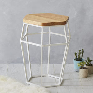 Contemporary Side Table With Metal Base And Oak Top