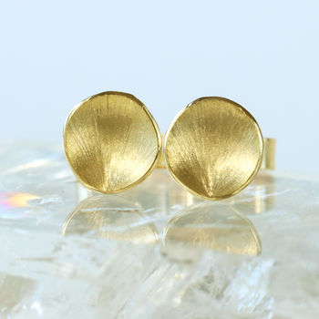 Flower Petal Studs, Ethical 18ct Gold