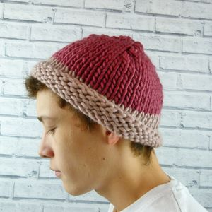 Mens Colour Block Beanie Hat Pinks
