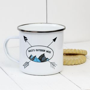 Personalised Mountain Enamel Mug - camping mugs