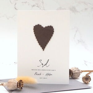 3rd Leather Heart Wedding Anniversary Card