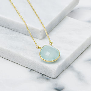 18ct Gold Vermeil Aqua Chalcedony Heart Drop Necklace - jewellery