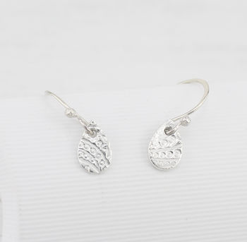 Sterling Silver Paisley Textured Tear Drop Earrings