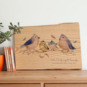 Personalised Bird Family Print On Wood Anniversary Gift - personalised