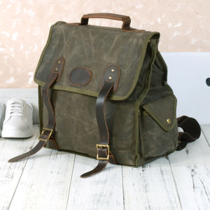 Waxed Canvas Waterproof Backpack For Hikers