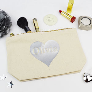 Personalised Silver Heart Make Up Purse