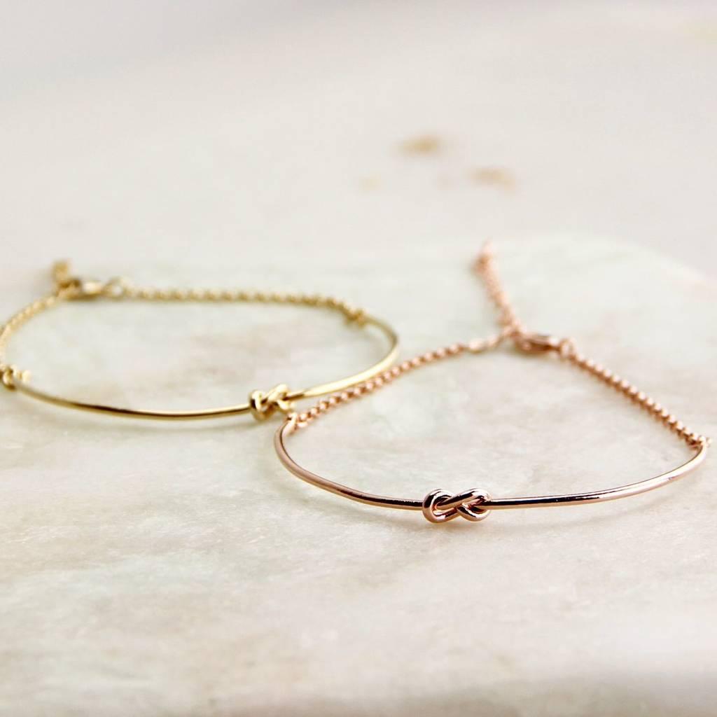 Personalised Gold Or Rose Knot Bangle Bracelet