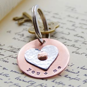 Personalised Spinning Heart Copper Keyring