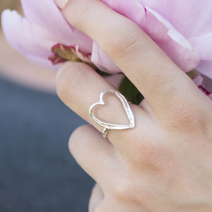 Sterling Silver Large Happily Ever After Heart Ring