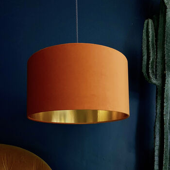 Rust Orange Velvet Lampshades With Gold Lining