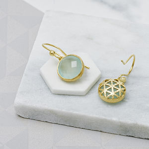 Aqua Chalcedony Filigree And 18ct Gold Vermeil Earrings - earrings