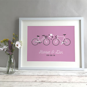 Personalised Bikes Wedding Or Anniversary Gift Print