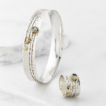 Celestial Moon Topaz Ring And Bangle Set