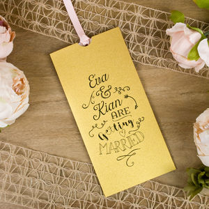 Metallic Monotype Wallet Wedding Invitation