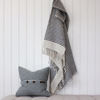 Navy And White Striped Throw