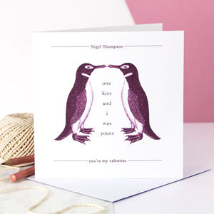 Personalised Valentine Card; Kissing Penguins