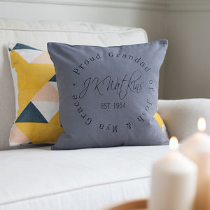 Personalised Signature Stamp Design Cushion - gifts for grandparents