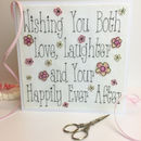 Embroidered Love And Laughter Wedding Card