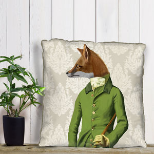 Fox In Green Decorative Cushion - bedroom