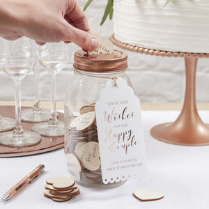 Glass Wishing Jar Wedding Guest Book Alternative - table decorations