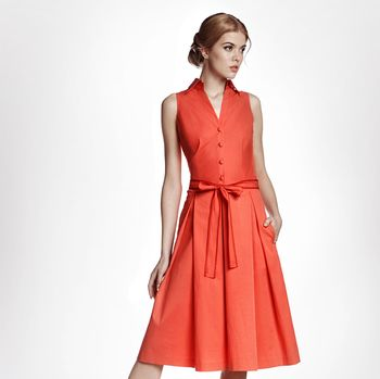 Venice Satin Cotton Belted Flared Dress