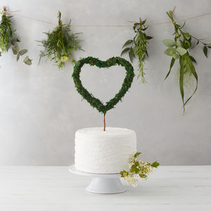 Moss Heart Cake Topper - natural artisan wedding trend