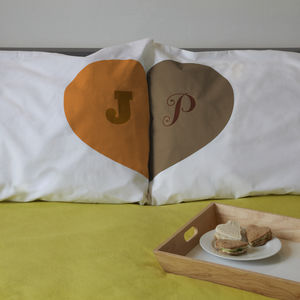 Personalised Couples Pillowcases Love Heart