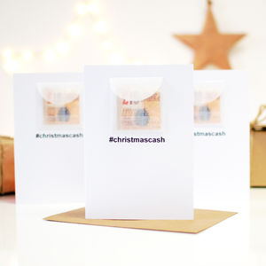 Pack Of Hashtag Cash Personalised Cash Christmas Card - winter sale