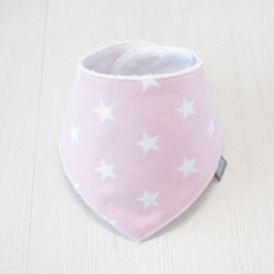 Bamboo Dribble Bib Pink Star - baby care