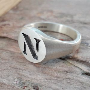 Personalised Stencil Silver Signet Ring