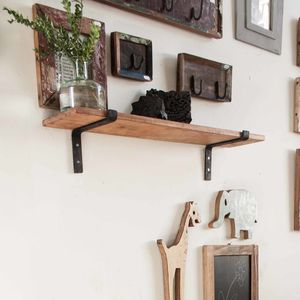 Reclaimed Wood Shelf And Bracket Set - laundry room