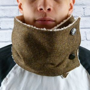 Brown Birdseye Yorkshire Tweed Neckwarmer Scarf