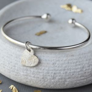 Silver Fingerprint Charm Torque Bangle