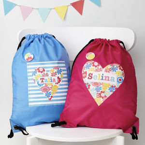 Girls Personalised Floral Heart Waterproof Kit Bag - winter sale