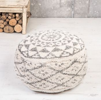 Grey And White Moroccan Pouffe