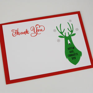 Green Christmas Deer Thank You Card