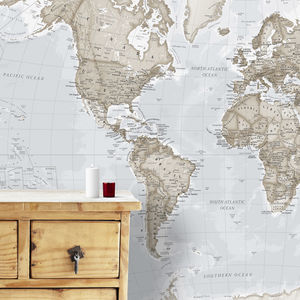 Giant Neutral World Map Mural - baby's room